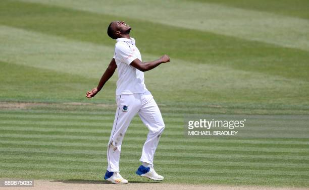 Miguel Cummins of the West Indies reacts during day three of the second Test cricket match between New Zealand and the West Indies at Seddon Park in...