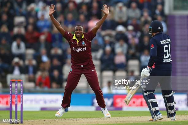 Miguel Cummins of West Indies appeals unsuccessfully for the wicket of Jason Roy during the 5th Royal London One Day International match between...