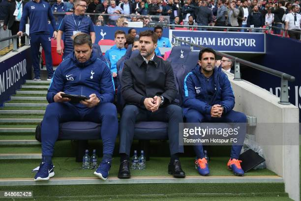 Miguel D'Agostino Mauricio Pochettino and Jesus Perez of Tottenham during the Premier League match between Tottenham Hotspur and Swansea City at...