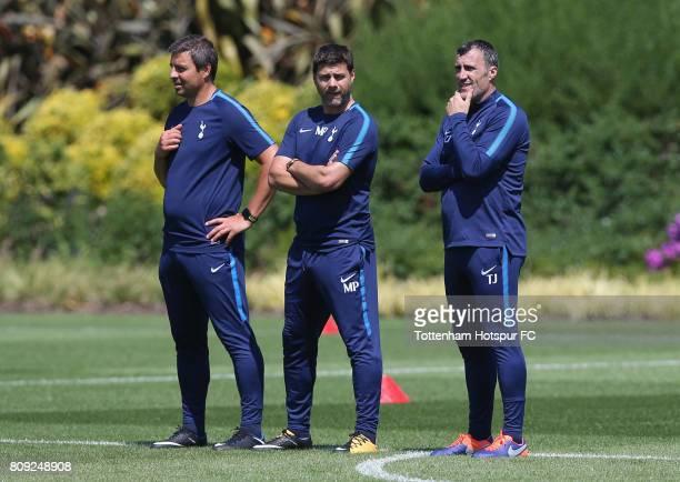 Miguel D'Agostino Mauricio Pochettino and Toni Jimenez during the Tottenham Hotspur training session at Tottenham Hotspur Training Centre on July 5...