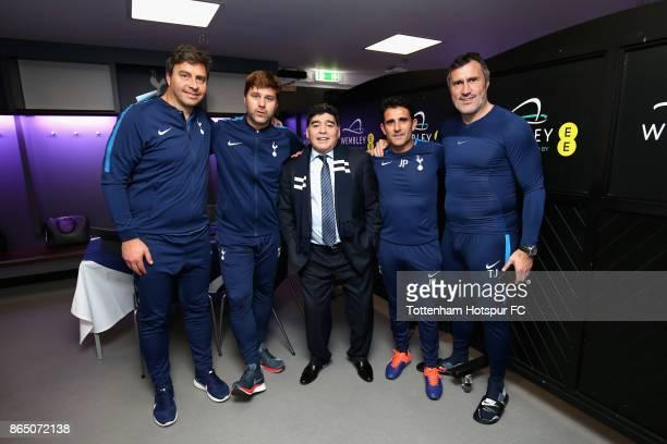 Miguel D'Agostino Tottenham Hotspur first team coach Mauricio Pochettino Manager of Tottenham Hotspur Diego Maradona Jesus Perez Tottenham Hotspur...