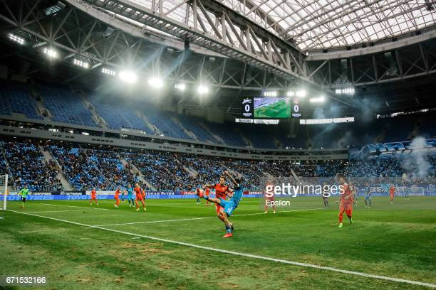 Miguel Danny of FC Zenit St Petersburg in action at new stadium St Petersburg during the Russian Football League match between FC Zenit St Petersburg...