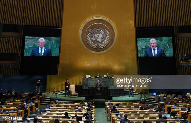 Miguel DíazCanel President of Cuba addresses the General Debate of the 73rd session of the General Assembly at the United Nations in New York...