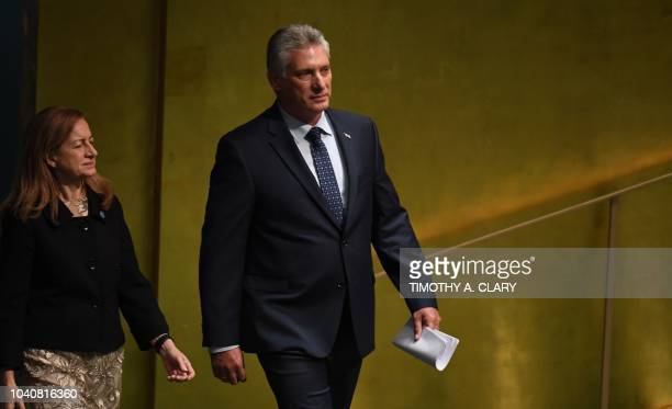 Miguel DíazCanel President of Cuba arrives to address the General Debate of the 73rd session of the General Assembly at the United Nations in New...