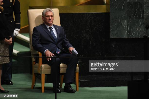 Miguel DíazCanel President of Cuba waits to address the General Debate of the 73rd session of the General Assembly at the United Nations in New York...