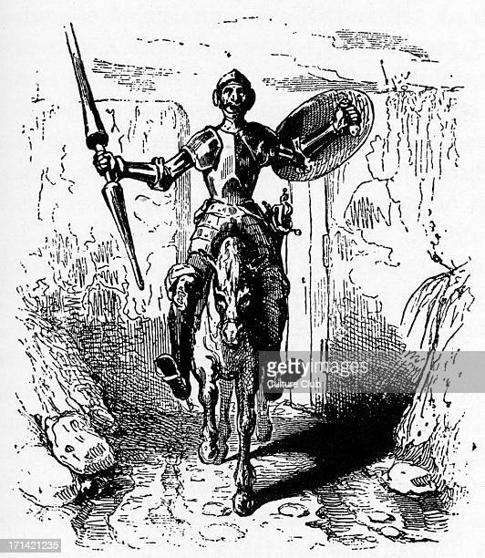 Miguel de Cervantes 's novel 'Don Quixote de la Mancha' Woodcut by French artist Antoine Johannot from the 1836 edition Spanish author 29 September...
