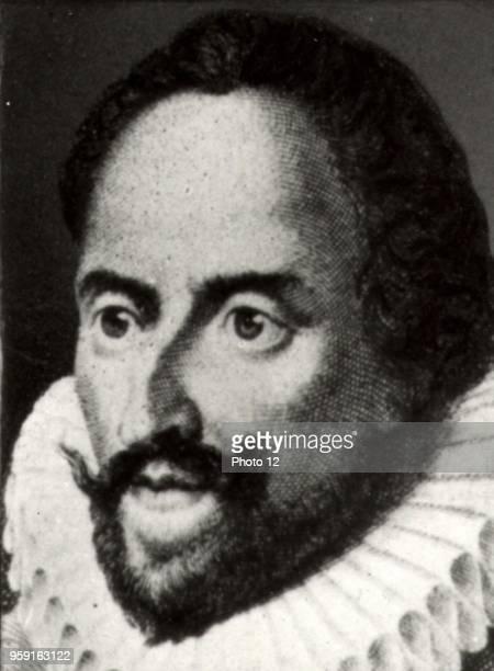 Miguel de Cervantes Spanish novelist and poet 16th century Engraving