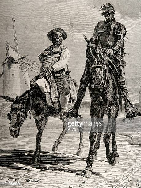 Miguel de Cervantes Spanish writer Conversation between Don Quixote and Sancho Panza after the adventure of the windmills Chapter VIII Engraving by E...