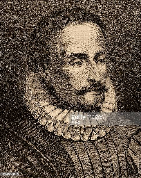 Miguel de Cervantes Spanish writer Engraving by Capuz in The Spanish and American Illustration 1872