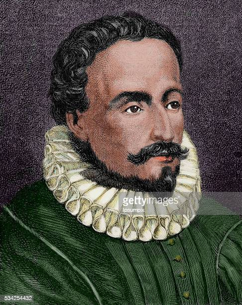 Miguel de Cervantes Spanish writer Engraving by Capuz in The Spanish and American Illustration 1872 Colored
