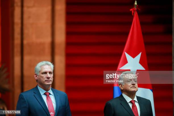 Miguel Diaz Canel, President of Cuba and Andres Manuel Lopez Obrador, President of Mexico pose during a state visit to Mexico at Palacio Nacional on...
