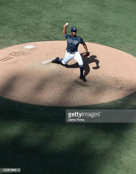 Miguel Diaz of the San Diego Padres pitches during the ninth inning of a baseball game against the Colorado Rockies at PETCO Park on September 2 2018...