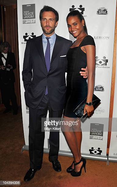 Miguel Fabregas and model Arlenis Sosa attend the 8th annual Brazil Foundation Gala after party at the Boom Boom Room on September 23 2010 in New...