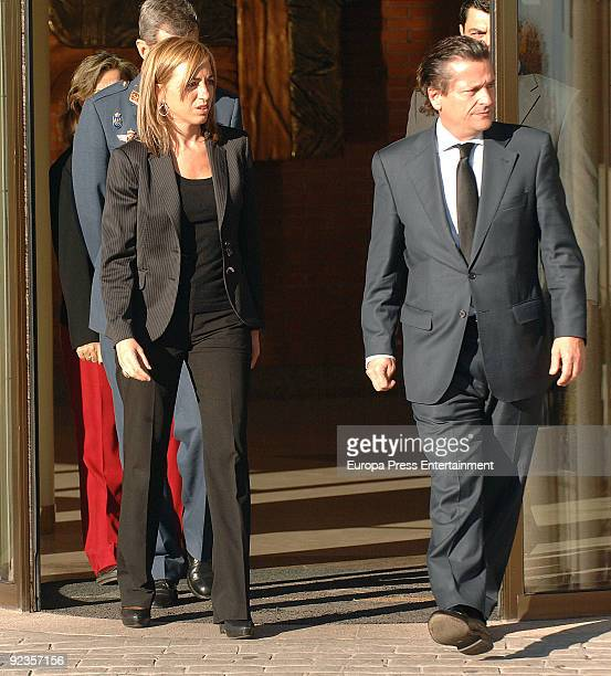 Miguel Fernadez Fernandez and Carme Chacon attend the funeral of Sabino Fernandez Campo on October 26 2009 in Madrid Spain Sabino Fernandez Campo was...