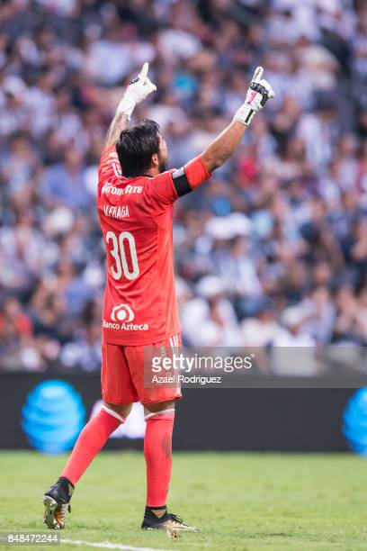 Miguel Fraga goalkeeper of Atlas celebrates after teammate Bryan Garnica scored his team's first goal during the 9th round match between Monterrey...