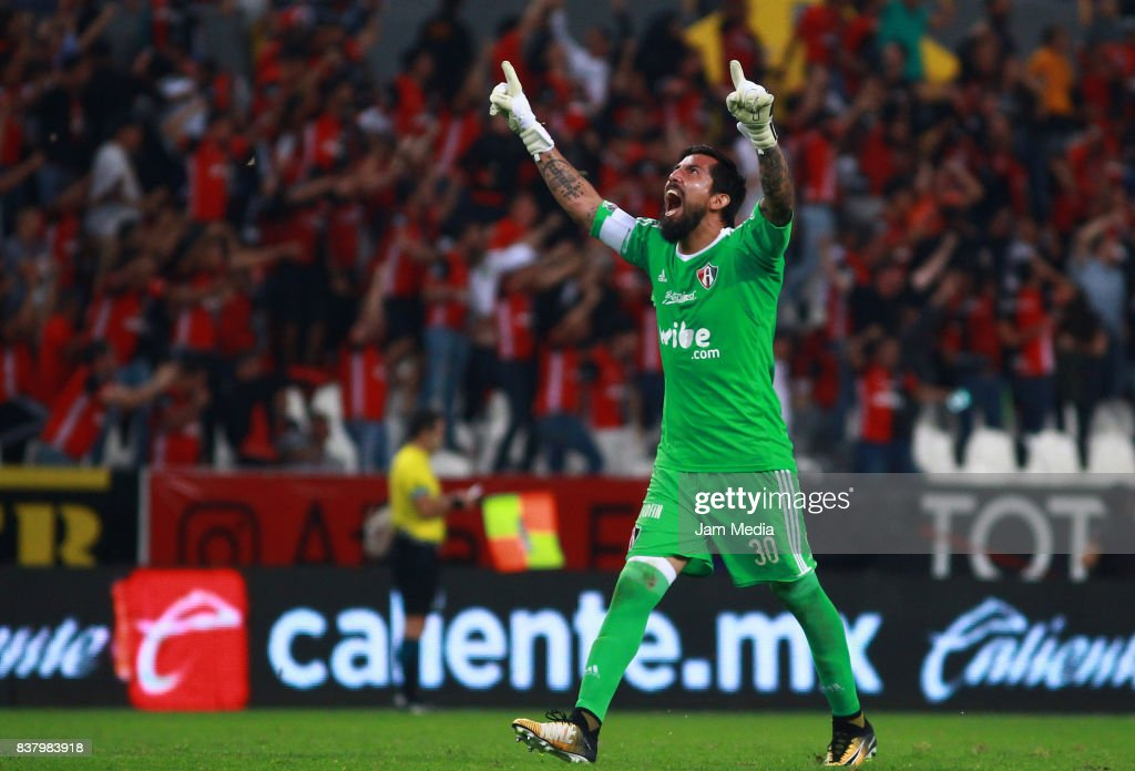 Miguel Fraga of Atlas celebrates his team's goal scored by Daniel Arreola (not in frame) during the 6th round match between Atlas and Lobos BUAP as part of the Torneo Apertura 2017 Liga MX at Jalisco Stadium on August 22, 2017 in Guadalajara, Mexico.