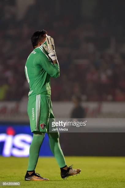 Miguel Fraga of Atlas reacts during the 12th round match between Veracruz and Atlas as part of the Torneo Clausura 2018 Liga MX at Luis 'Pirata' de...