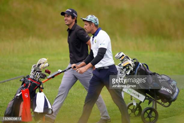 Miguel Gaspar of Portugal and Dominik Pavoucek of Czech Republicin during Day Two of the Kaskada Golf Challenge at Kaskada Golf Resort on July 02,...