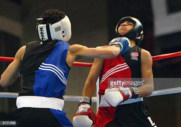 Miguel Gonzalez lands a punch in his bout against Victor Ortiz during the United States Olympic Team Boxing Trials at Battle Arena on February 19...