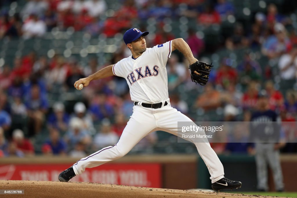 Miguel Gonzalez #36 of the Texas Rangers throws against the Seattle Mariners in the second inning at Globe Life Park in Arlington on September 12, 2017 in Arlington, Texas.