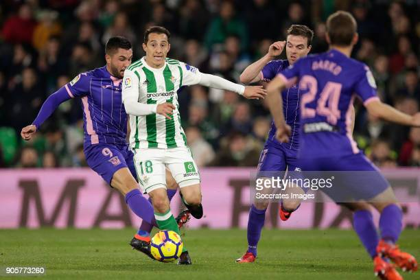 Miguel Guerrero of Leganes Andres Guardado of Real Betis Javier Eraso of Leganes during the La Liga Santander match between Real Betis Sevilla v...