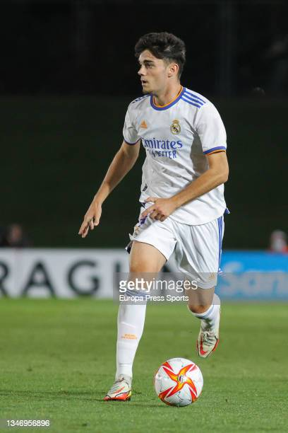 Miguel Gutierrez of Real Madrid Castilla in action during Primera RFEF Group 2 football match played between Real Madrid Castilla and FC Barcelona B...