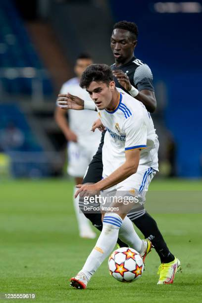 Miguel Gutierrez of Real Madrid CF and Adama Traore ofFC Sheriff Tiraspol battle for the ball during the UEFA Champions League group D match between...