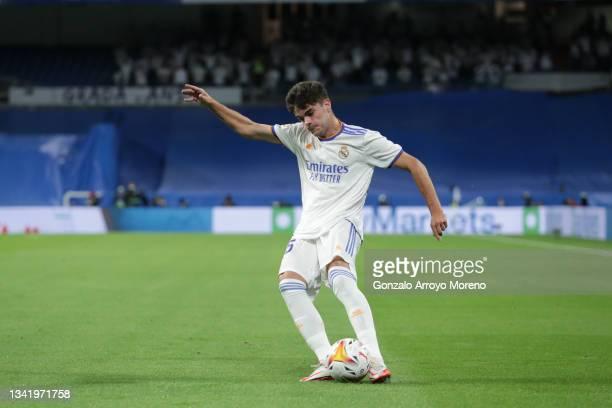 Miguel Gutierrez of Real Madrid CF controls the ball during the La Liga Santander match between Real Madrid CF and RCD Mallorca at Estadio Santiago...