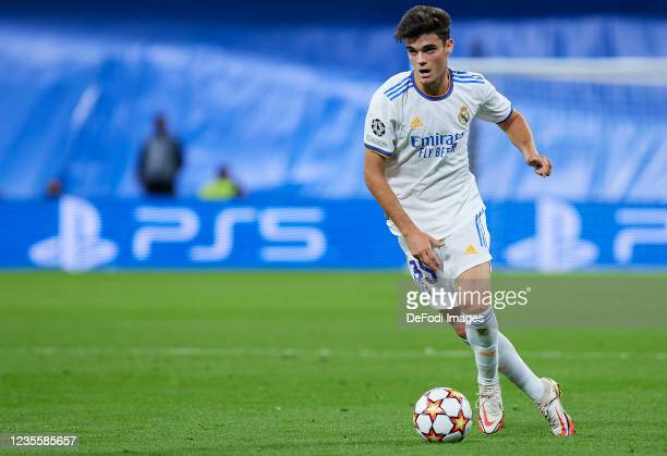 Miguel Gutierrez of Real Madrid CF controls the ball during the UEFA Champions League group D match between Real Madrid and FC Sheriff at Estadio...
