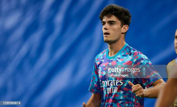 Miguel Gutierrez of Real Madrid CF warms up prior to the UEFA Champions League group D match between Real Madrid and FC Sheriff at Estadio Alfredo Di...