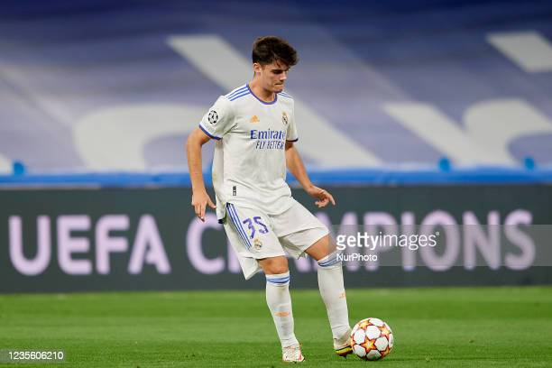 Miguel Gutierrez of Real Madrid does passed during the UEFA Champions League group D match between Real Madrid and FC Sheriff at Estadio Santiago...