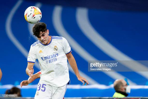 Miguel Gutierrez of Real Madrid during the La Liga Santander match between Real Madrid v Real Mallorca at the Estadio Santiago Bernabeu on September...