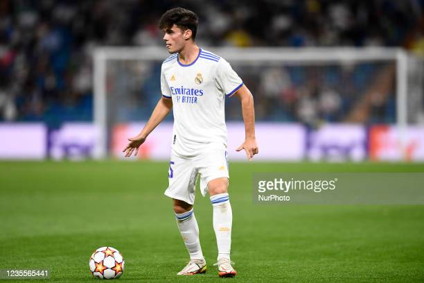 Miguel Gutierrez of Real Madrid during the UEFA Champions League group D match between Real Madrid and FC Sheriff at Estadio Santiago Bernabeu on...