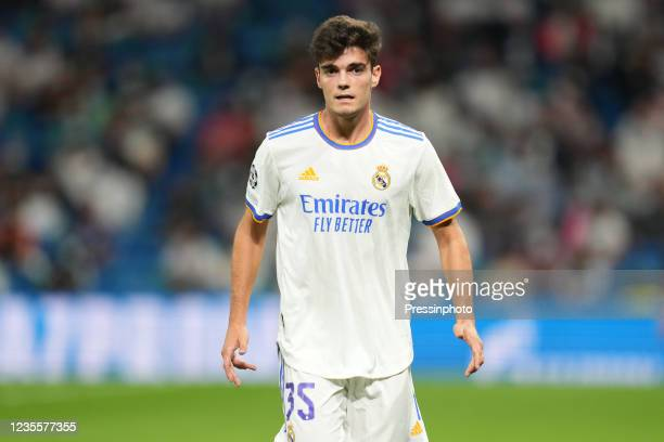 Miguel Gutierrez of Real Madrid during the UEFA Champions League match between Real Madrid and FC Sheriff Tiraspol played at Santiago Bernabeu...