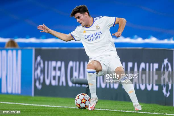 Miguel Gutierrez of Real Madrid during the UEFA Champions League match between Real Madrid v FC Sheriff Tiraspol at the Estadio Alfredo Di Stefano on...