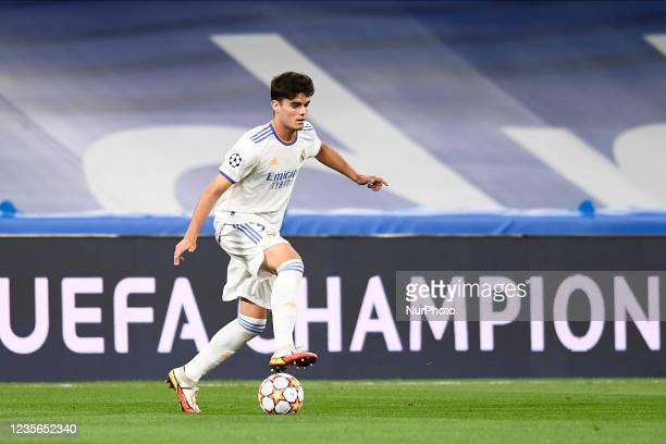 Miguel Gutierrez of Real Madrid in action during the UEFA Champions League group D match between Real Madrid and FC Sheriff at Estadio Santiago...