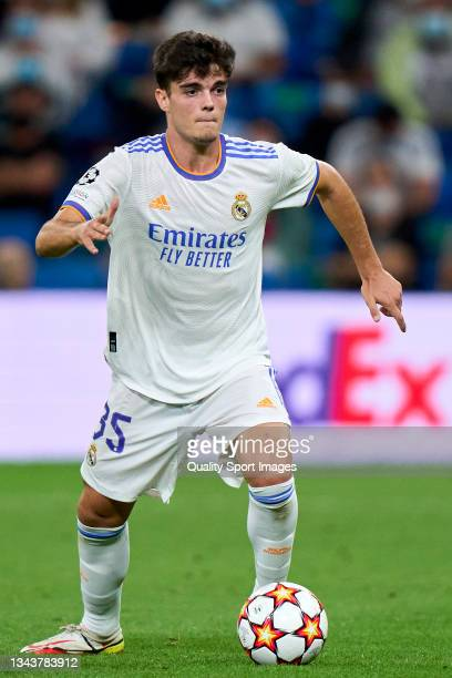 Miguel Gutierrez of Real Madrid looks on during the UEFA Champions League group D match between Real Madrid and FC Sheriff at Estadio Santiago...