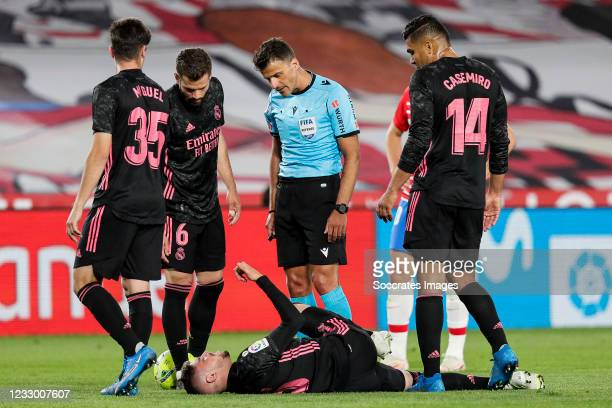 Miguel Gutierrez of Real Madrid, Nacho of Real Madrid, Fede Valverde of Real Madrid, referee Jesus Gil Manzano, Casemiro of Real Madrid during the La...