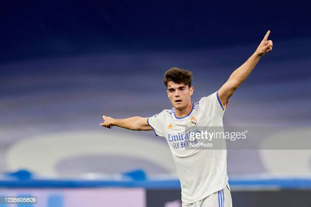 Miguel Gutierrez of Real Madrid reacts during the UEFA Champions League group D match between Real Madrid and FC Sheriff at Estadio Santiago Bernabeu...