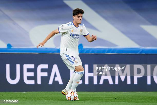 Miguel Gutierrez of Real Madrid runs with the ball during the UEFA Champions League group D match between Real Madrid and FC Sheriff at Estadio...