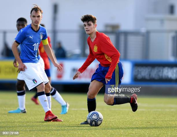 Miguel Gutierrez of Spain action during the U17 International Friendly match between Italy and Spain at Juventus Center Vinovo on January 17 2018 in...