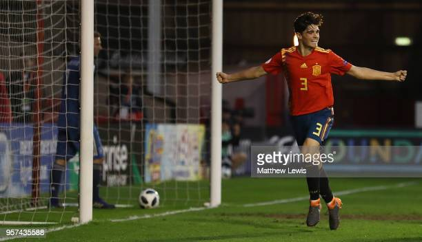 Miguel Gutierrez of Spain celebrates his goal during the UEFA European Under17 Championship Group Stage match between Spain and Germany at Bescot...