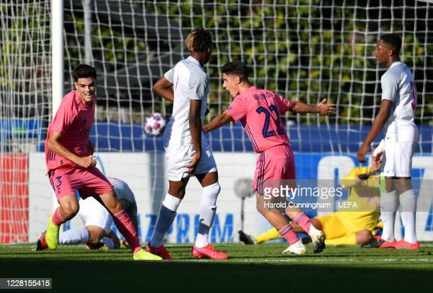 Miguel Gutiérrez of Real Madrid CF turns to celebrate after scoring his side's second goal during the UEFA Youth League 2019/20 Semi-final match...