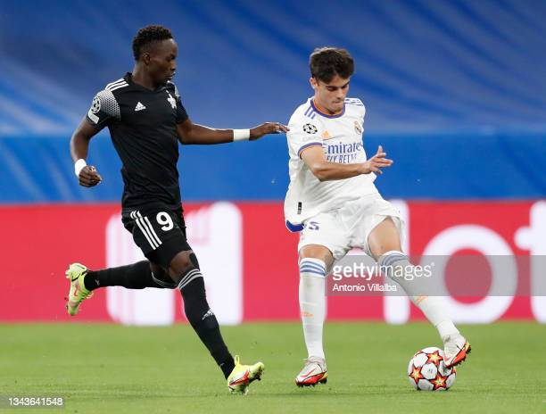 Miguel Gutiérrez of Real Madrid in action during the UEFA Champions League group D match between Real Madrid and FC Sheriff at Estadio Santiago...