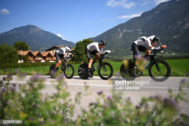 Miguel Heidemann, Justin Wolf, Maximilian Richard Walscheid and Team Germany sprint during the 27th UEC Road Cycling European Championships 2021,...
