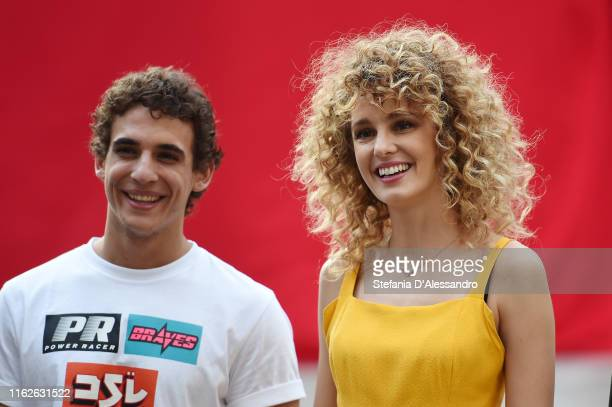 """Miguel Herran and Esther Acebo attend the """"Piazza De Papel"""" event of the Netflix tv show """"La Casa di Carta"""" at Piazza Affari on July 17, 2019 in..."""