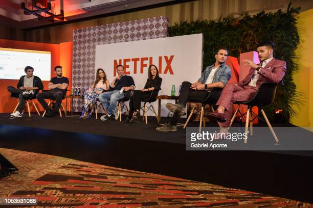 Miguel Herran Charlie Cox Camila Sodi Netflix VP Local Originals Erik Barmack Cecilia Suarez Juan Pablo Raba and Christian Navarro look on during...