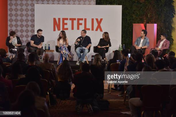 Miguel Herran Charlie Cox Camila Sodi Netflix VP of Local Originals Erik Barmack Cecilia Suarez Juan Pablo Raba and Christian Navarro look on during...