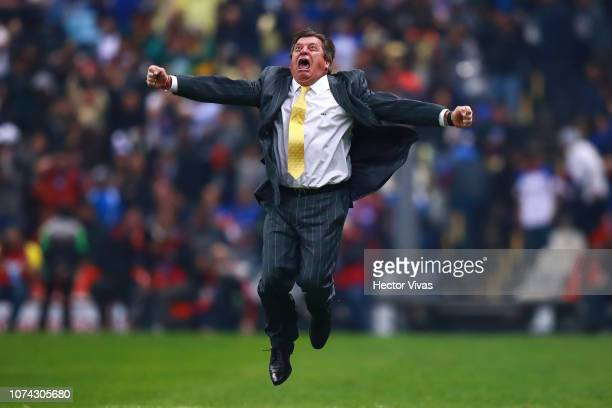 Miguel Herrera Coach of America celebrates after the final second leg match between Cruz Azul and America as part of the Torneo Apertura 2018 Liga MX...