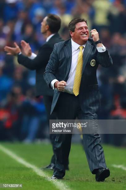 Miguel Herrera coach of America celebrates after the first goal of his team during the final second leg match between Cruz Azul and America as part...